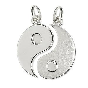 CLEVER SCHMUCK 2 Silberne große geteilte Partneranhänger Yin Yang Ø 20 mm matt und glänzend STERLING SILBER 925