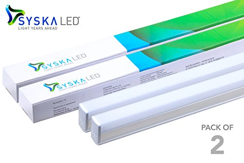 Syska 18 Watts T5 LED Tube Light - 6500K - 4 Feet - Pack of 2