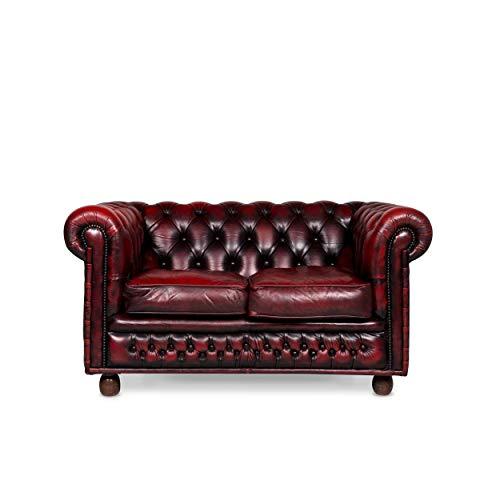 Chesterfield Designer Leder Sofa Rot Zweisitzer Retro Couch #9620 - Leder-sofas Und Zweisitzer
