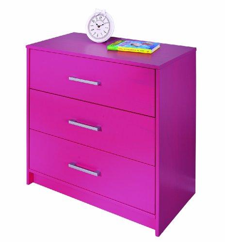 Inter Link 20901850 Kommode pink Schlafzimmerkommode Schlafzimmer Holzkommode 3 Schubladen massiv