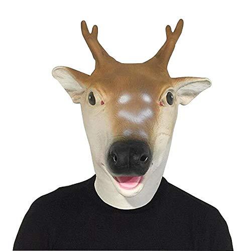 JUNNWE Los apoyos del Funcionamiento de la máscara del Partido del Traje de Halloween Cabeza de los Ciervos del Tocado (Color : Brown, Size : One Size)
