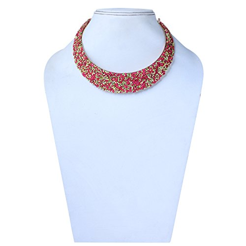 TRENDY Fashion Women Collar Beaded Hasli Choker Glossy Finish Designer Necklace Western Ethnic Girls Jewellery  available at amazon for Rs.349