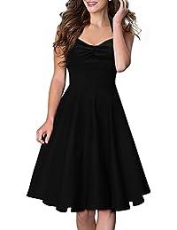Miusol® Vintage Damen 1950er Abendkleid Neckholder Cocktailkleid Rockabilly Retro Party Kleid Schwarz Größe 36-46