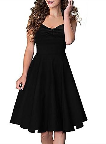 Miusol Damen Sommerkleid Neckholder Stretch Rockabilly Retro Cocktailkleid 1950er Party Kleid Schwarz Groesse