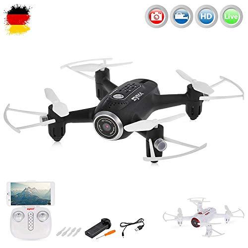 4.5-Kanal RC ferngesteuerter mini Quadcopter mit eingebaute FPV Wifi HD-Kamera,Drohne unterstützt Live Übertragung auf Smarthhone, App/Gravity Steuerung, Höhenhalte-Modus, One-Key-Return Home Rückholmodus, RTF Komplett-Set inkl. Crash-Kit