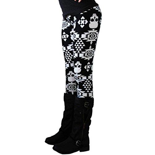 Kobay Beiläufige Damen Schädel Print Skinny Stretchy Jegging-Hosen-dünne Gamaschen Schwarz