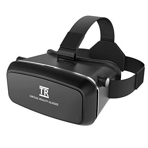 3D VR Headset, TechRise VR Brille mit verstellbarem Objektiv und Bequemem Riemen für 3D Filme und Spiele, kompatibel mit iPhone X/8Plus/8/7Plus/7/6S Plus Samsung S6 und Anderen 3.5\'\'-6\'\' Smartphones