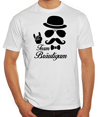 Junggesellenabschied JGA Herren Männer T-Shirt Rundhals Sunglasses Team Bräutigam Kombi