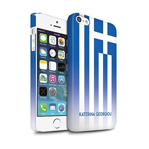 eSwish Personalisiert Individuell National Nation Flagge 3 Matte Hülle für Apple iPhone 5/5S / Griechenland/Griechisch Design/Initiale/Name/Text Snap-On Schutzhülle/Case/Etui