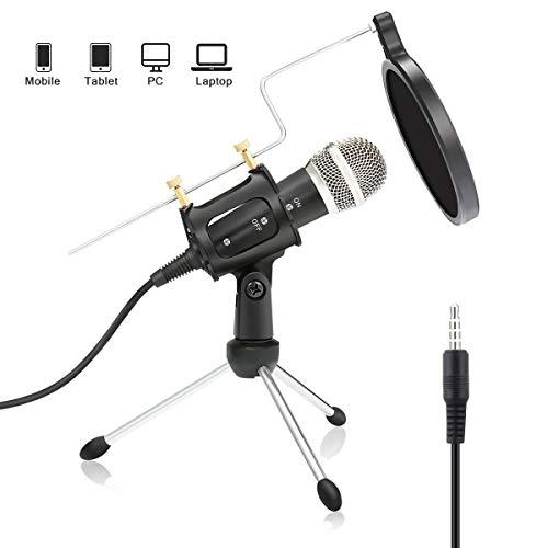 n,NASUM,mini Kondensatormikrofon mit 3.5mm klinke Aufnahme Mikrofon für Podcast,Recording,Studio,Skype,YouTube,mit Ständer und Popschutz,für Android /IOS PC oder Alle Smartphone ()