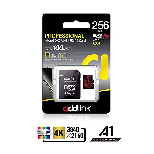 Addlink 256GB MicroSD-Karte V30 U30 A1-Speicherkarte mit Adapter mit lesen 100MB / s schreiben 80MB / s Plus S-video