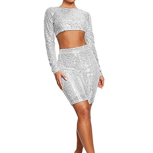 Sexy Suit Donna,Sasstaids❀ Top + Pants, Manica Solid Lungo Sexy Paillettes di Moda per Donna Brillante Tops + Pants,Processo di Paillettes,Linea di Anca Vita Perfetta