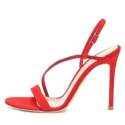 XLY Damenmode Slingback Open Toe Stiletto High Heel Sandalen Pumps Strass Sexy Kleid Hochzeit Party Sandaletten,Red,42 Sexy Open Toe Pump