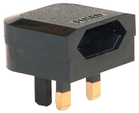 Euro 2 Pin to 3 Pin Converter Plug / Adapter - Black