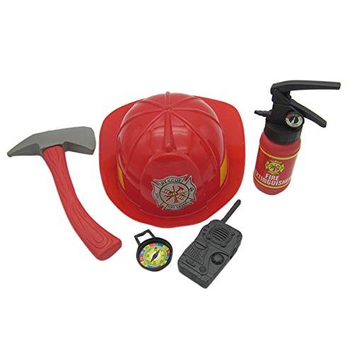 NUOBESTY Kinder Rollenspiel Kostüm Set Feuerwehrmänner Rollenspiel Kit BAU Dress Toy Kit für Geburtstag Cosplay Party Favors