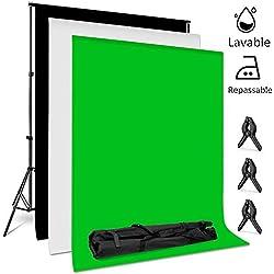 amzdeal 2×3m Fonds Support Système, 3pcs 2×1.6m Toiles de Fond Vert Blanc Noir en Tissu Lavable et Repassable, Support 2×3m Réglable en Hauteur 66-200cm pour Photo Studio Portrait Vidéo