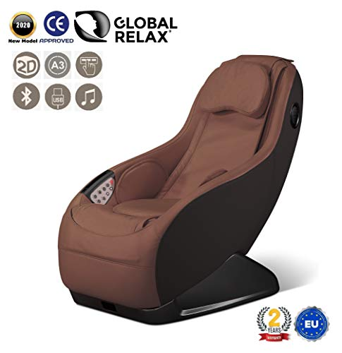 GURU® Massage und Relaxsessel - Braun (Modell 2020) - 3 Massagemodi - Surround-3D Sound - Massagestuhl mit Bluetooth System und USB-Anschluss - 2 JAHRE GARANTIE GLOBAL RELAX®