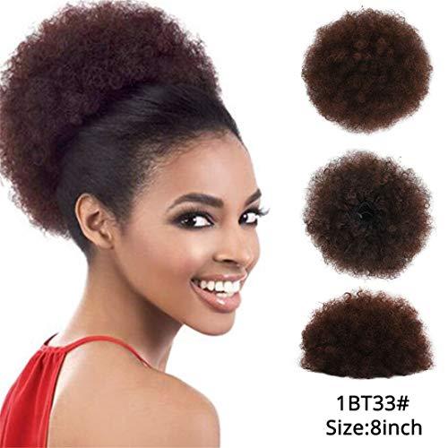 8 Zoll Haarknoten Afro Haarteil Haardonut Afro Puff Haargummis Kordelzug Pferdeschwanz Versautes Haar Hochsteckfrisur 16 Farben Gefälschte Brötchen 1Bt33 -