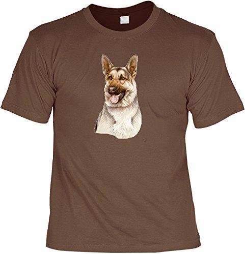 Hunde Shirt/ T-Shirt mit Dog Aufdruck: Deutscher Schäferhund - tolles Tier-Motiv für Hundefreunde Hellbraun