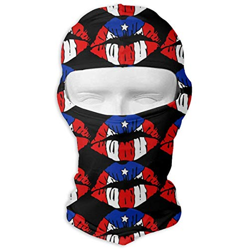 Vidmkeo Puerto Rico Flag Lip Unisex Face Mask Dust Sun UV Protection Balaclava Face Mask Fashion8 Hut Puerto Rico