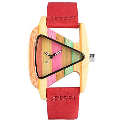 QMTFC Hollow Wooden Clock Triangle Unique Creative Colorful Striped Bamboo Watch for Women Hour Fashion Ladies Wristwatch 2019,Red