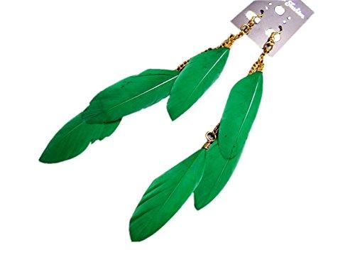Kanggest 1Par Largos Mujer Flecos Pendientes Moda Niña Bohemia pluma Aretes Pendientes para Vacaciones y Playa Joyería Accesorios(Verde)