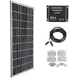 Betop-camp Kit Solar de Panel Monocristalino de 160W 12V - Panel Solar Monocristalino de 160W + Controlador de Carga de luz LCD de 10A