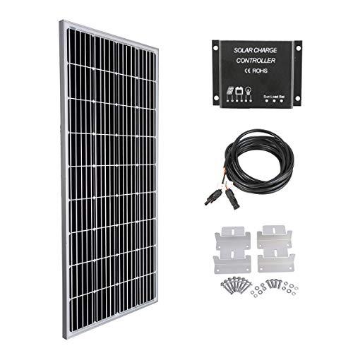 Betop-camp 160W 12V Monokristalline Solarpanel Kit-160W Monokristalline Solarpanel + 10A LCD-Ladesteuerung + 3m Adapterkabel + Montagewinkel -