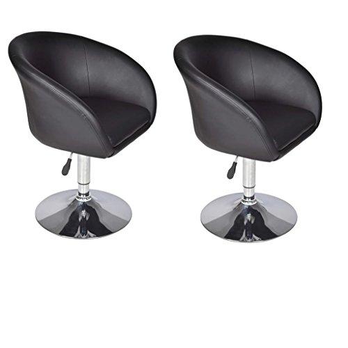 vidaXL 2 fauteuils Lounge design simili cuir noir pivotant 360° hauteur réglable