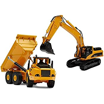 123D SET 3 Top Race Diecast Construction Trucks Model Set Toy Excavator Toys in Beautiful Gift Box Packaging Dump Truck and Front Loader Models Kids Adults ages 3 +