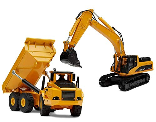 Top Race TR-111D/TR-112D 2 in 1 Large Diecast Metal Excavator and Dump Construction Freewheeler Set-Trucks Vehicles Models Toys for Kids Boys Adults Children Age 2+ Year Olds (Tr-111D/112D)