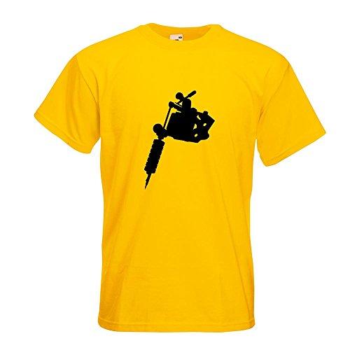 KIWISTAR - Tätowiermaschine T-Shirt in 15 verschiedenen Farben - Herren Funshirt bedruckt Design Sprüche Spruch Motive Oberteil Baumwolle Print Größe S M L XL XXL Gelb