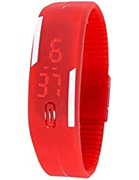 MHE Red Color Unisex Silicone Digital LED Band Wrist Watch For Boys, Girls, Men, Women
