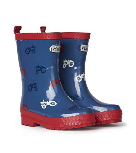 Hatley Kids Shiny Rain Boots - Farm Tractors