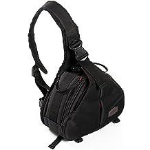 CADeN K1 bolso de la cámara honda hombro cruzada bolso triángulo lleve la bolsa de mensajero Divisores acolchados extraíbles para DSLR / SLR Sony Canon Nikon 1 cámara 2 trípode de la lente