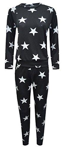 Hina Fashion Frauen Langarm-Stern-Druck-2 Stück Sweatshirt Hose Anzug Jogging Lounge (Small/Medium (36-38), Schwarz) (Stück Anzug 2 Schwarz)