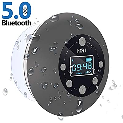 Shower Radio Bluetooth Speaker 5.0, HOTT Waterproof Wireless Bathroom Music with Suction Cup FM Microphone Hands-Free Calling 10 Hours LCD Clock Display SD Card Playing for iPhone iPad Samsung Nexus by JoyGeek