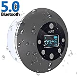 Shower Radio Bluetooth Speaker 5.0, HOTT Waterproof Wireless Bathroom Music with Suction Cup