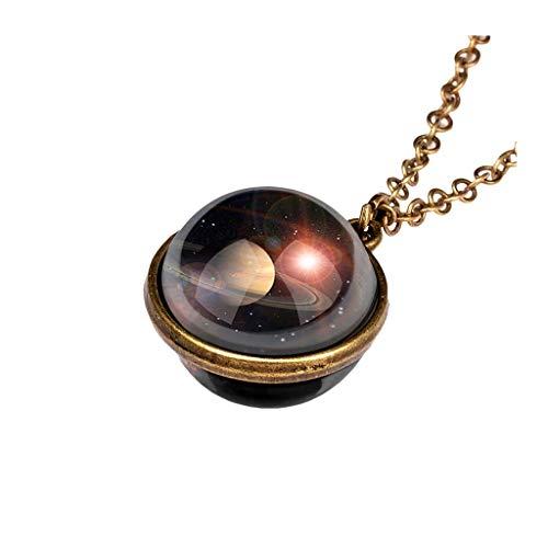 LIMITA Damen Halskette Kette mit Doppelseitiger Glasplaneten-Anhänger, Galaxy System Planetenkette Stern Halskette Lange Pullover-Kette Kuppel Planet Halskette Mädchen Geschenk für Mädchen