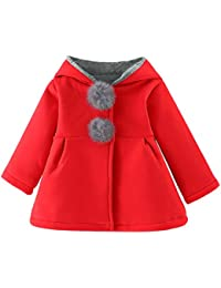 ☺Mantel Jacke Baby Säuglingsmädchen Wollmantel Kapuzenjacke Strickmantel Winterjacke Winter Warme Starke Warme Kleidung Cardigan Mantel Baby Prinzessin Spitze Elegant