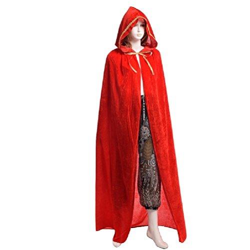 (Kinder Erwachsene Vampire Witch Wizard Schwarz Rot Umhang Kostüm Halloween Cosplay)