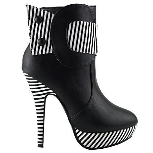 Show Story schwarz gestreiften Knopf Reißverschluss High Heel Stiletto Plattform Ankle-Boots, LF30303BK38, 38EU, schwarz (Heels Gedruckt)