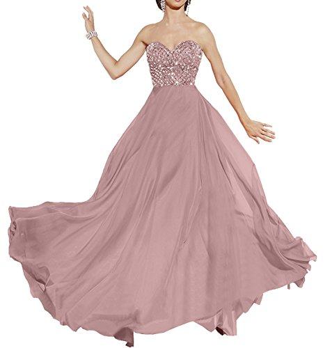 Milano Bride Elegant Orange Langes Chiffon Abendkleider Promkleider Abschlussballkleider mit Strasse Dunkel Rosa