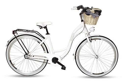 Goetze Style 28 Zoll Damen Citybike Stadtrad Damenfahrrad Damenrad Hollandrad Retro-Design 3-Gang Korb Hinterradbremse LED-Beleuchtung Weiß