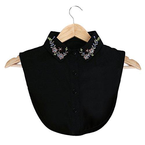 2b2b62698163 Invierno otoño mujeres elegante bordado cuello bricolaje blusa vestido de  ropa de cuello falso