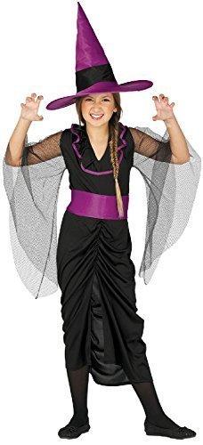 stische violett schwarz Hexe Zauberer Sorcier Halloween Horror unheimlich Kostüm Kleid Outfit 5-12 Jahre - 7-9 Years ()