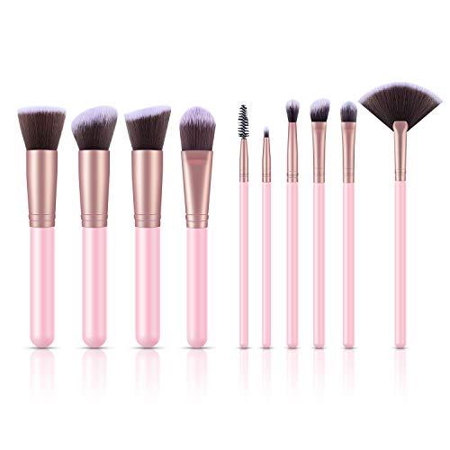 Make up Pinsel Set Brush Set 10 teilig Holz Kosmetikpinsel mit Synthetisches Haar für Eyeliner Augenbrauen Foundation usw. für Berufsverfassungs oder Ausgangsgebrauch rosa von ELEHOT