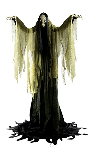 Schaurige über 2 Meter große Halloween Hexe leuchtet spricht und bewegt sich Horror Animatronic