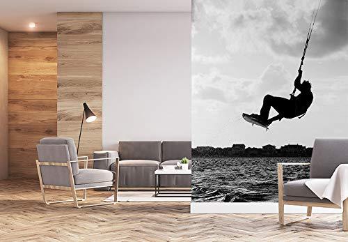 Fototapete selbstklebend Kitesurfer - schwarz weiß 150x200 cm - Wandtapete - Poster - Dekoration - Wandbild - Wandposter - Bild - Wandbilder - Wanddeko