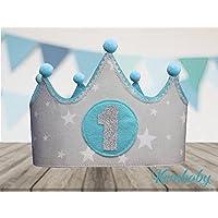 Corona tela primer cumpleaños 1 año para bebes niños y niñas gris y azul